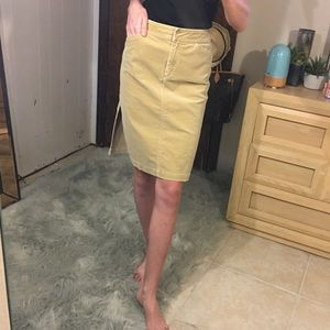 J. Crew 0 corduroy midi pencil skirt with slit